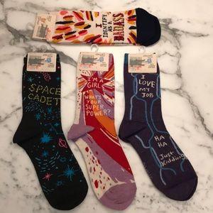 Bundle of 4 Pairs Blue Q Socks Crew Ankle NEW